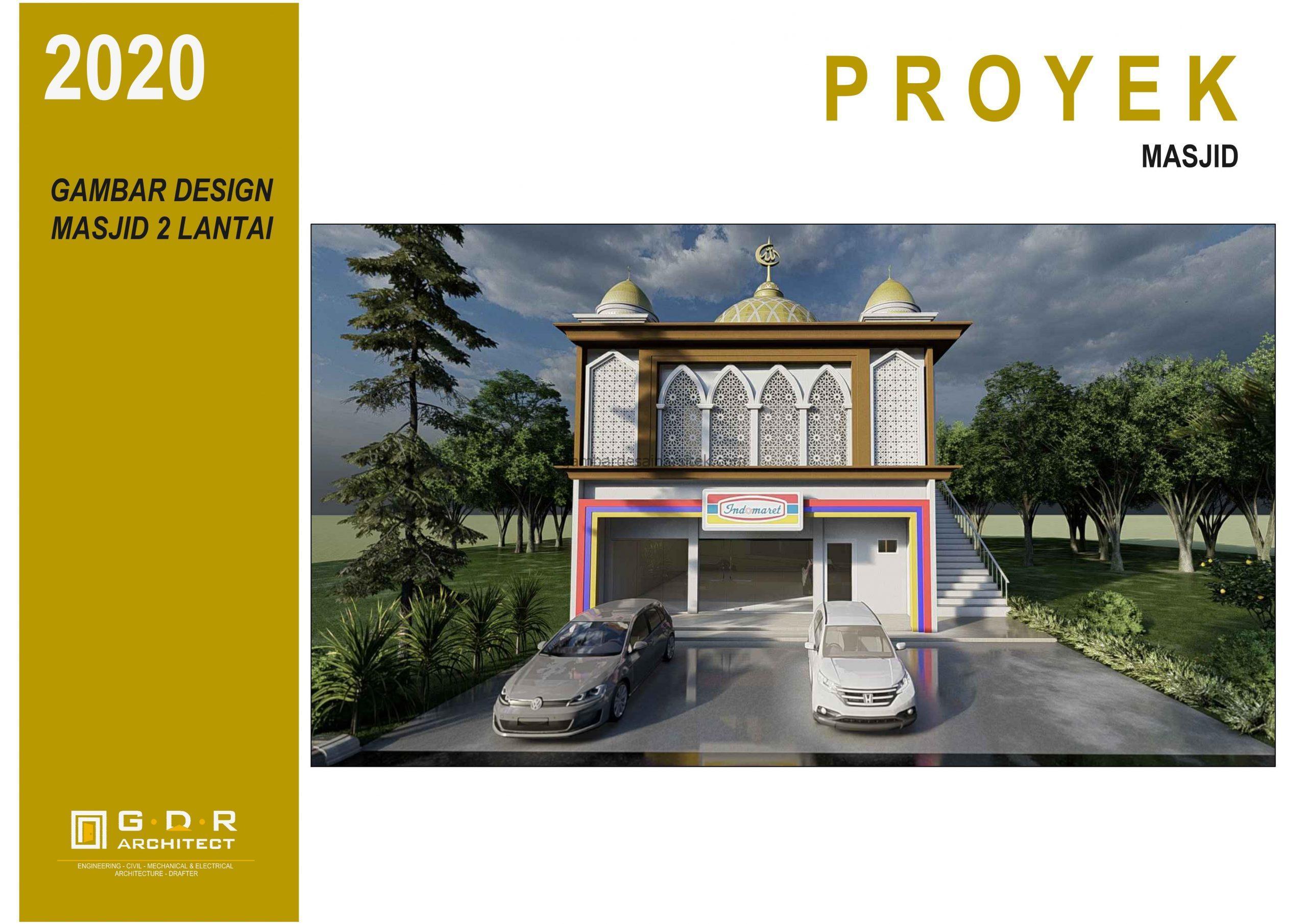 3D View Gambar Desain Masjid 2 Lantai ada Minimarket 1 scaled