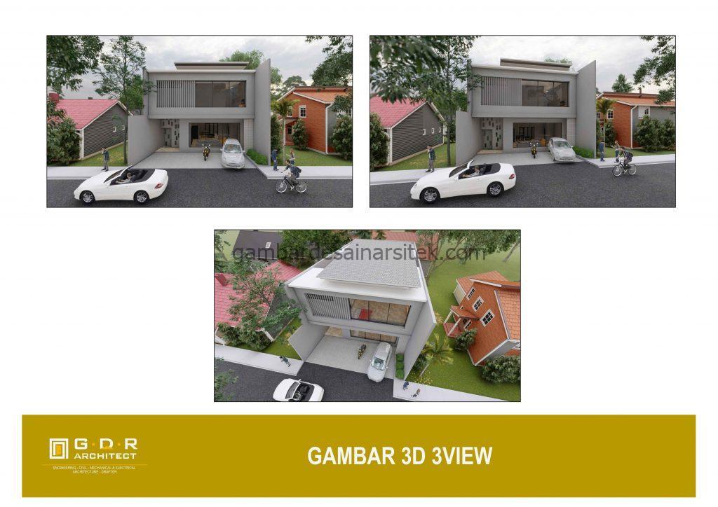 3D View Gambar Desain Rumah 2 Lantai 11x16 2