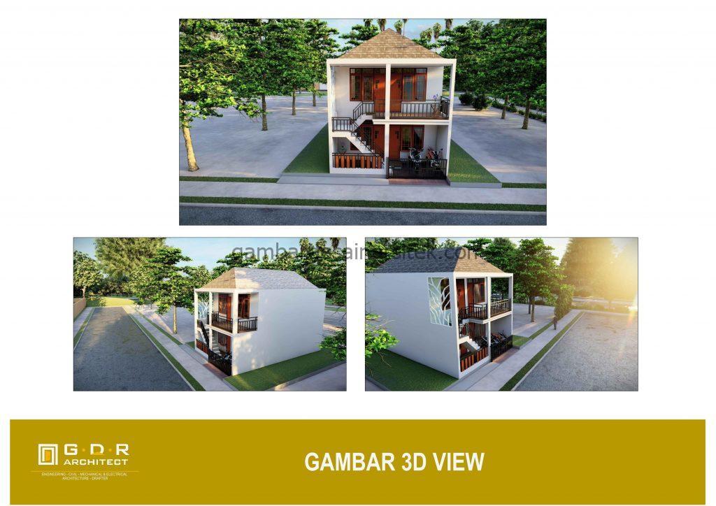 3d gambar desain rumah kost minimalis 2 lantai 6x10 2