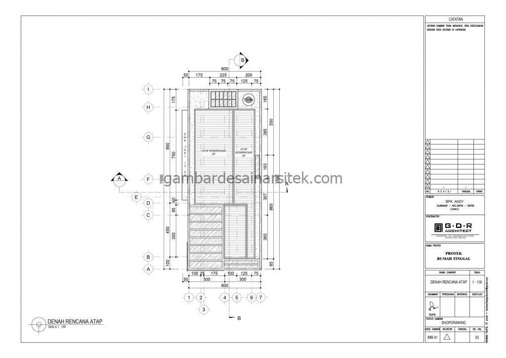 Denah Atap Gambar Desain Rumah 1 Lantai Industrial Modern 2