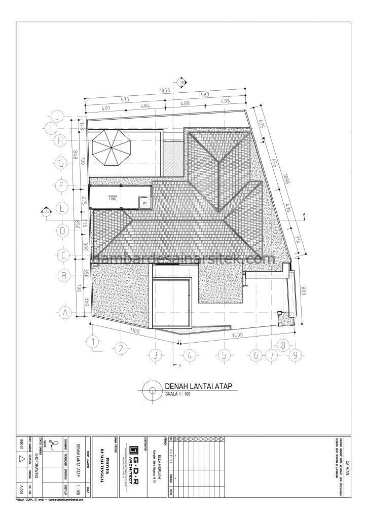 Denah Atap Gambar Desain Rumah 4 Lantai Mewah Mediterania 5
