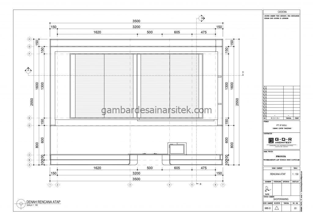 Denah Atap Gambar Desain Workshop Tools 2 Lantai 5