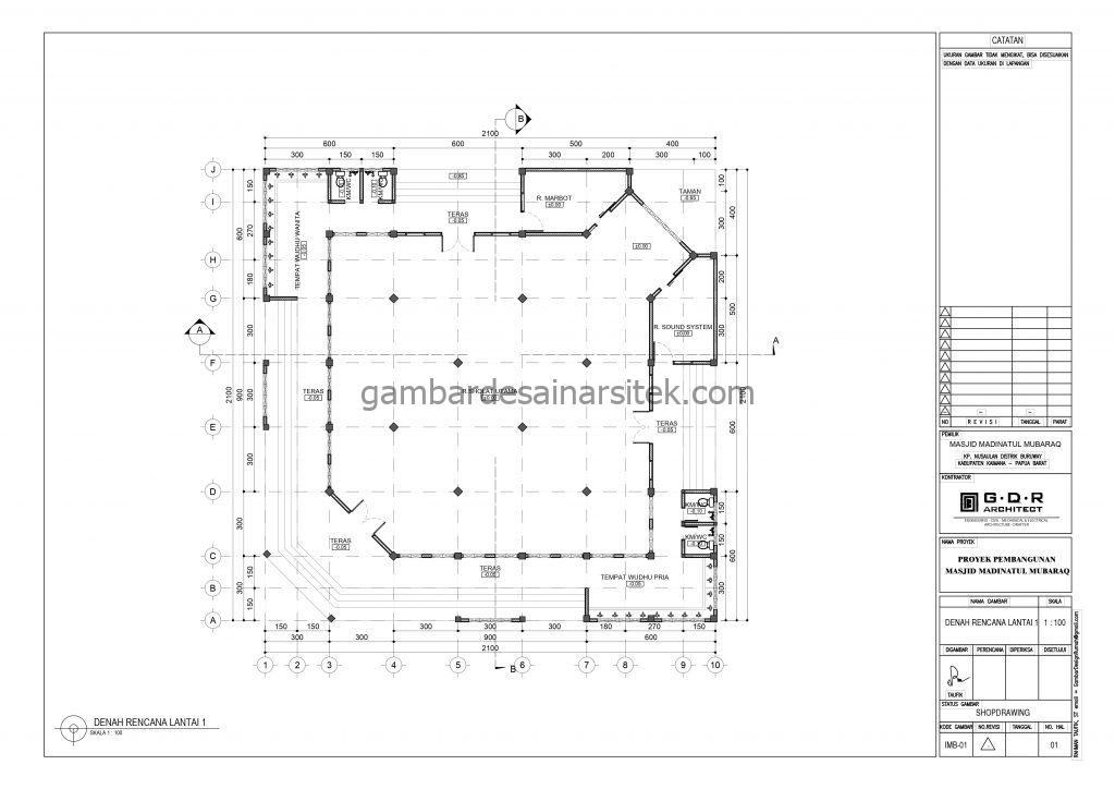 Denah Gambar Desain Masjid 1 Lantai 21x21 3