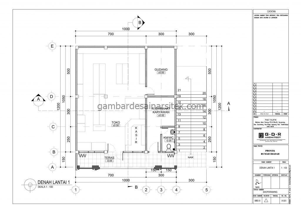 Denah Gambar Desain Masjid 2 Lantai ada Minimarket 3