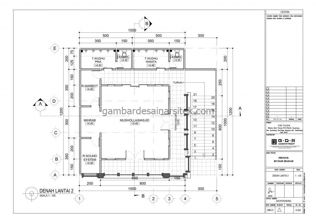 Denah Gambar Desain Masjid 2 Lantai ada Minimarket 4