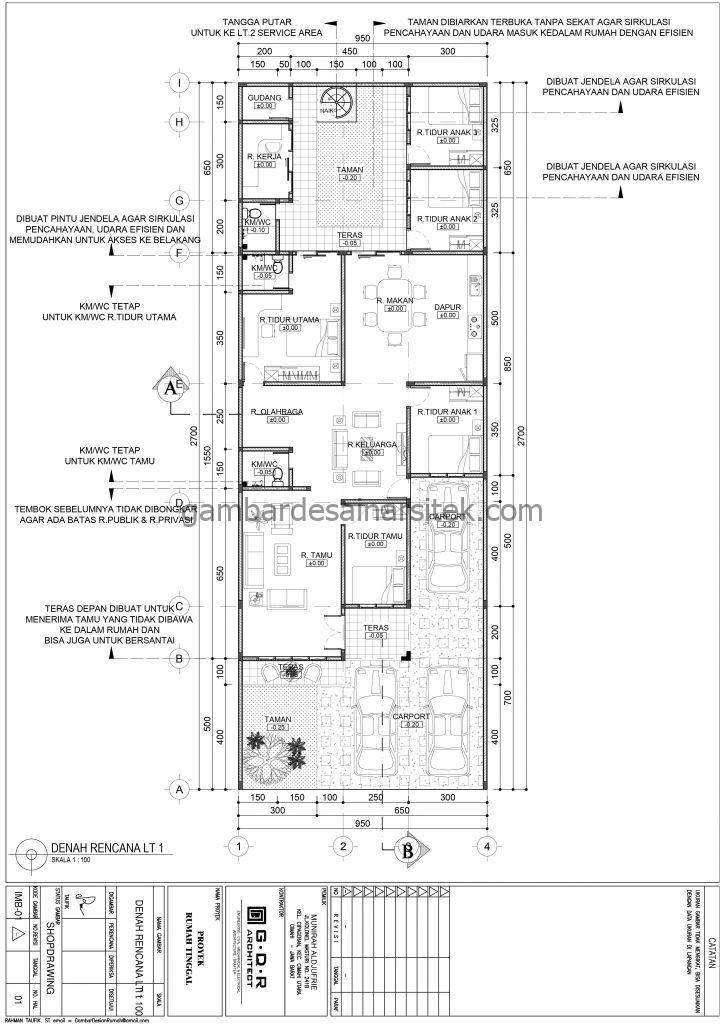 Denah Gambar Desain Rumah 1 Lantai Hemat Energi