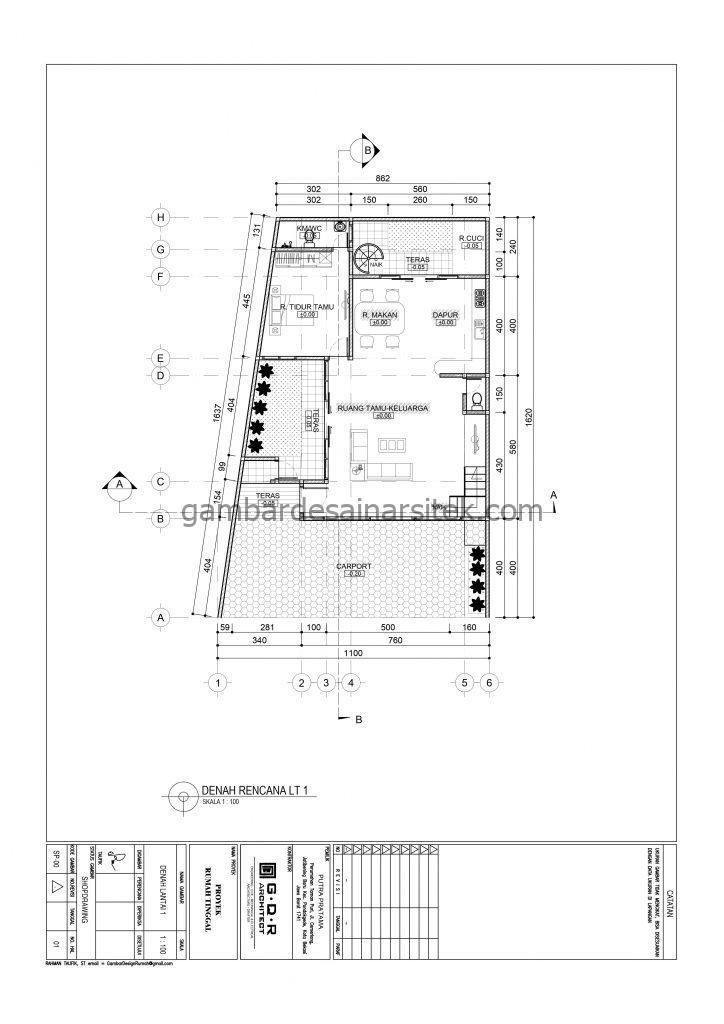 Denah Gambar Desain Rumah 2 Lantai 11x16 3
