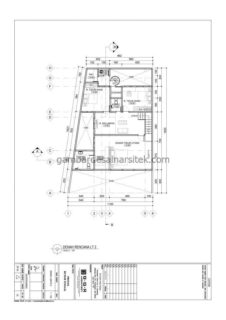 Denah Gambar Desain Rumah 2 Lantai 11x16 4