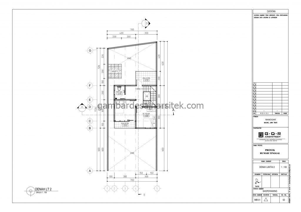 Denah Gambar Desain Rumah 2 Lantai 7x18 3