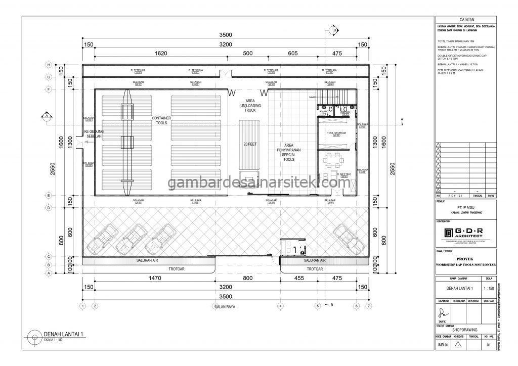 Denah Gambar Desain Workshop Tools 2 Lantai 3