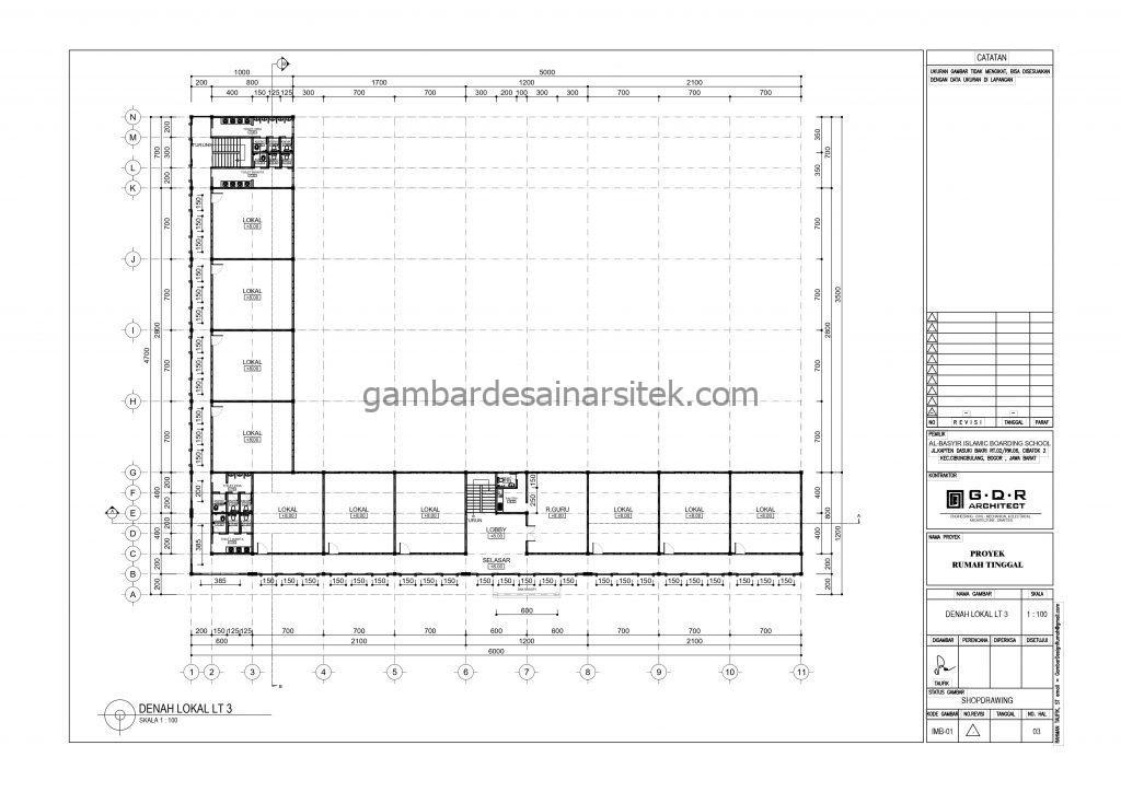 Denah Kelas Gambar Desain Bangunan Sekolah Boarding School 3