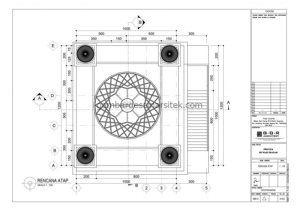 Denah Kubah Gambar Desain Masjid 2 Lantai ada Minimarket 5