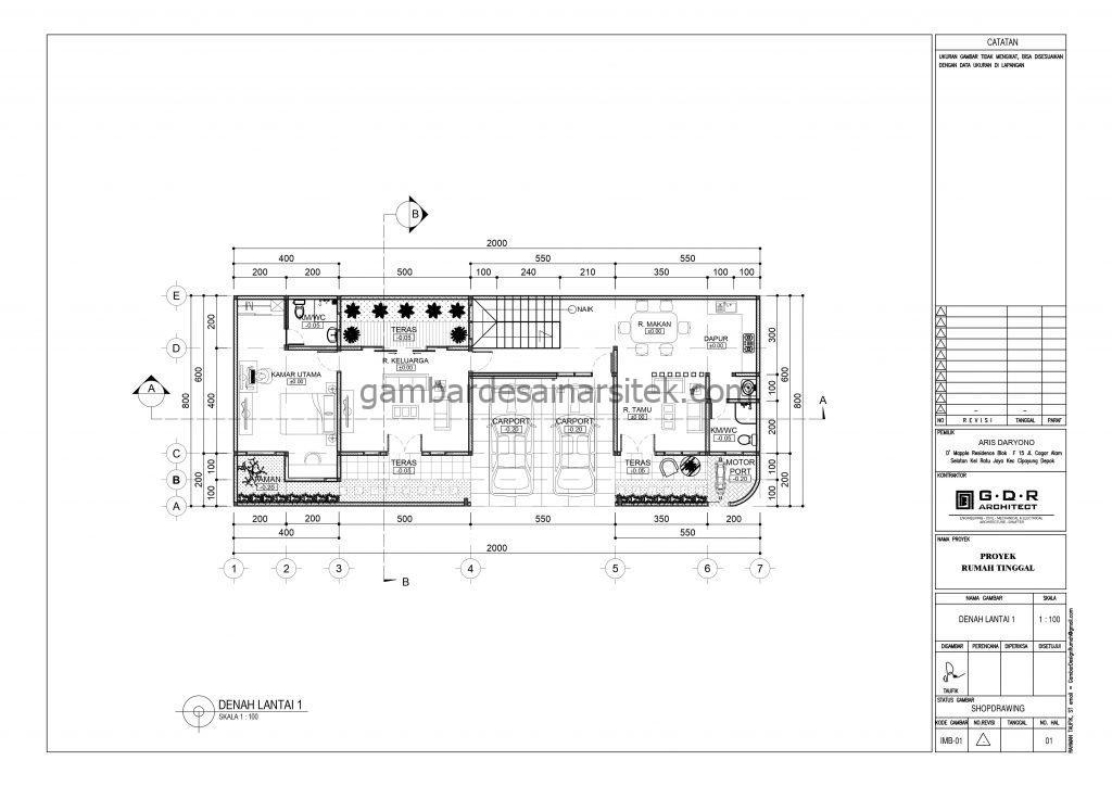 Denah Lantai 1 Gambar Desain Rumah 2 Lantai Atap Panel Surya 1