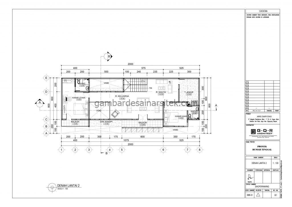 Denah Lantai 2 Gambar Desain Rumah 2 Lantai Atap Panel Surya 2
