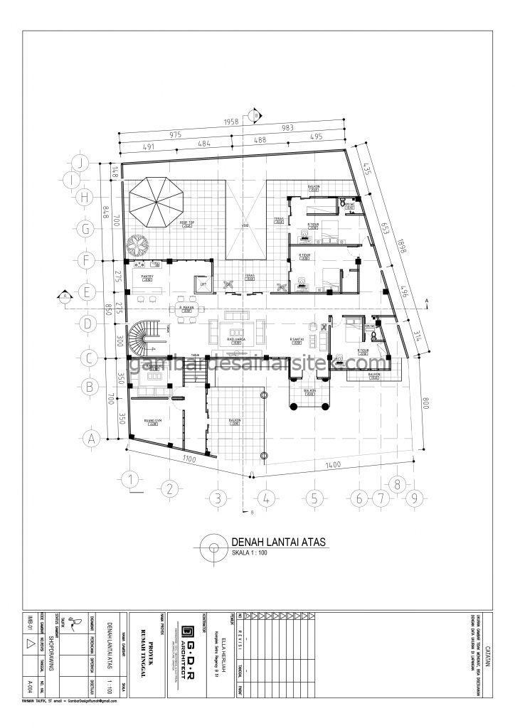 Denah Lantai Atas Gambar Desain Rumah 4 Lantai Mewah Mediterania 4