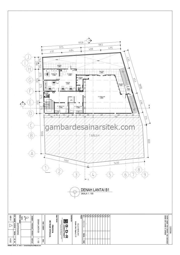 Denah Lantai B1 Gambar Desain Rumah 4 Lantai Mewah Mediterania 2