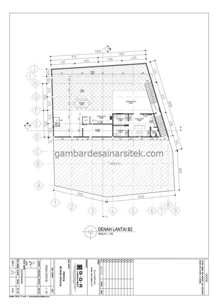 Denah Lantai B2 Gambar Desain Rumah 4 Lantai Mewah Mediterania 1