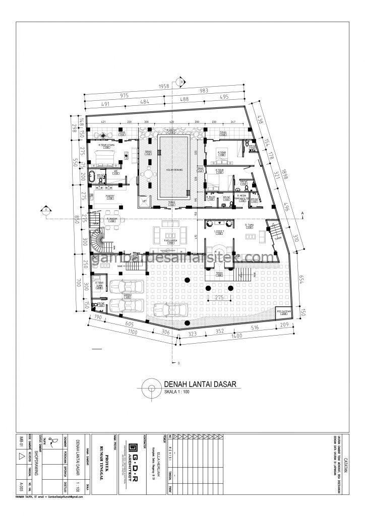 Denah Lantai Dasar Gambar Desain Rumah 4 Lantai Mewah Mediterania 3