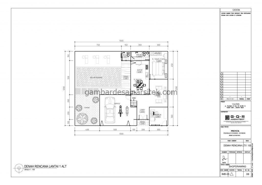 Denah Rumah 2 Lantai 15x12 dengan Kolam Renang 1