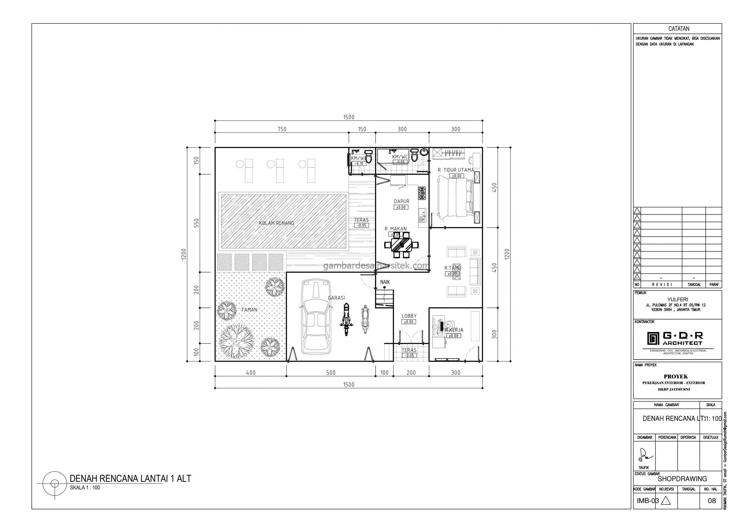 Denah Rumah 2 Lantai 15x12 dengan Kolam Renang 1 scaled