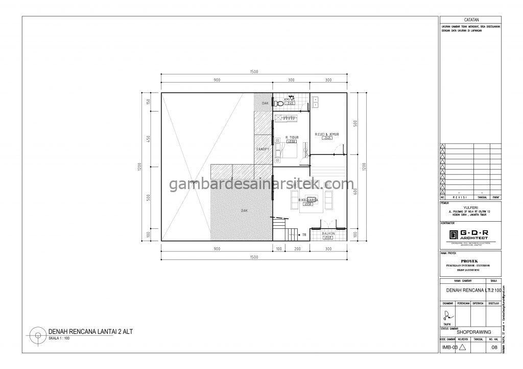 Denah Rumah 2 Lantai 15x12 dengan Kolam Renang 2