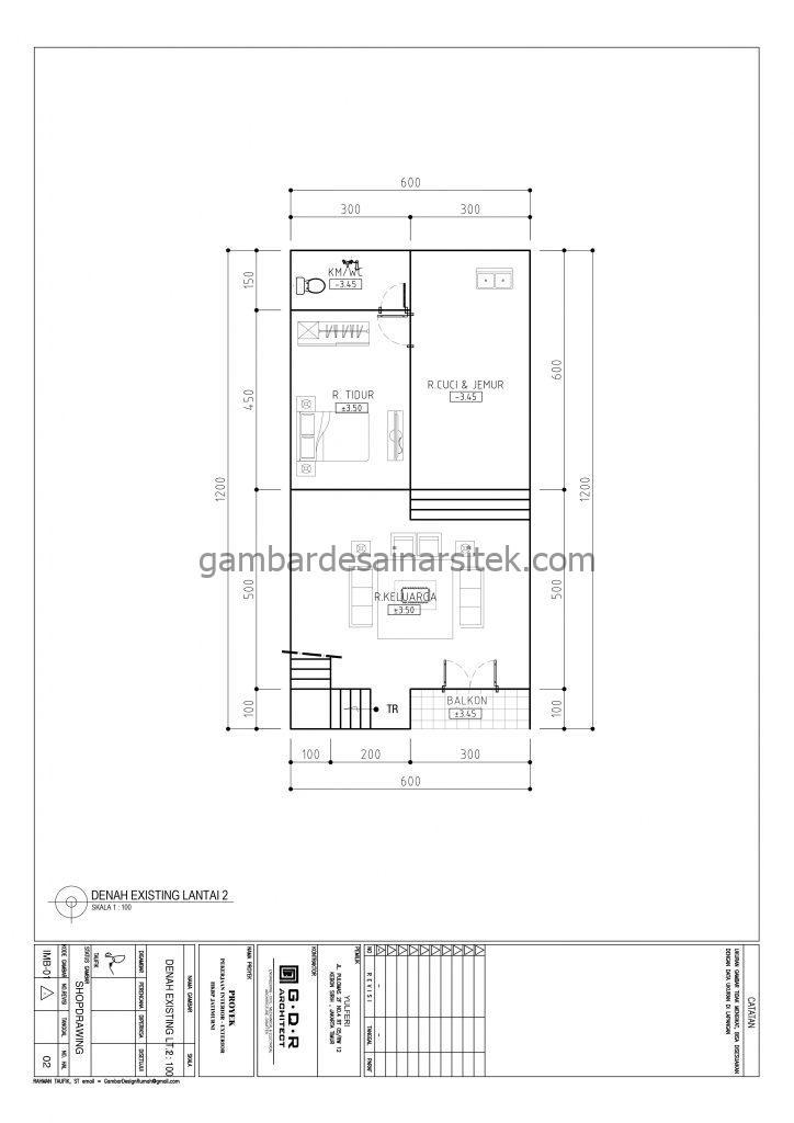 Denah Rumah 2 Lantai 6x12 dengan Ruang Kerja 2
