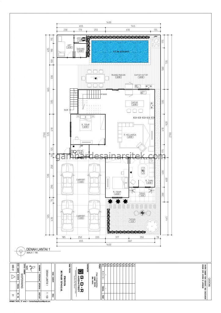 Gambar Denah Rumah Mewah 3 Lantai 14x27 1