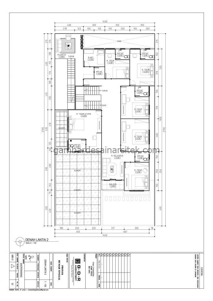 Gambar Denah Rumah Mewah 3 Lantai 14x27 2