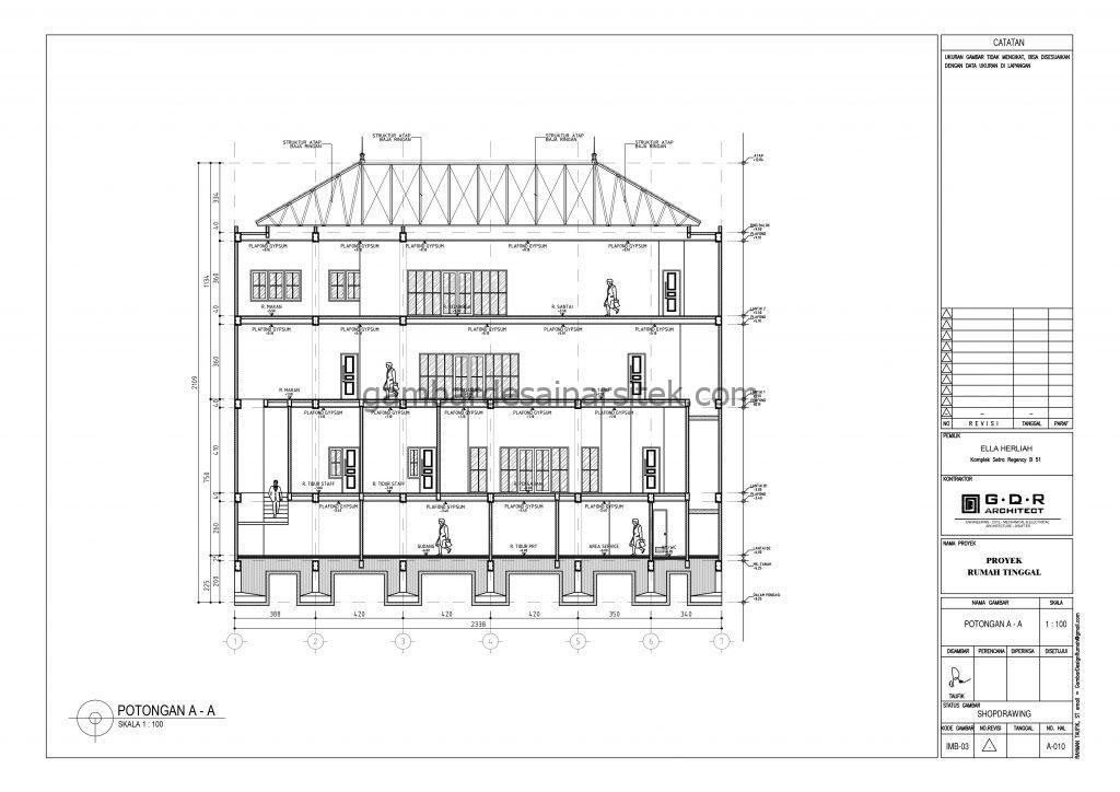 Potongan A A Gambar Desain Rumah 4 Lantai Mewah Mediterania