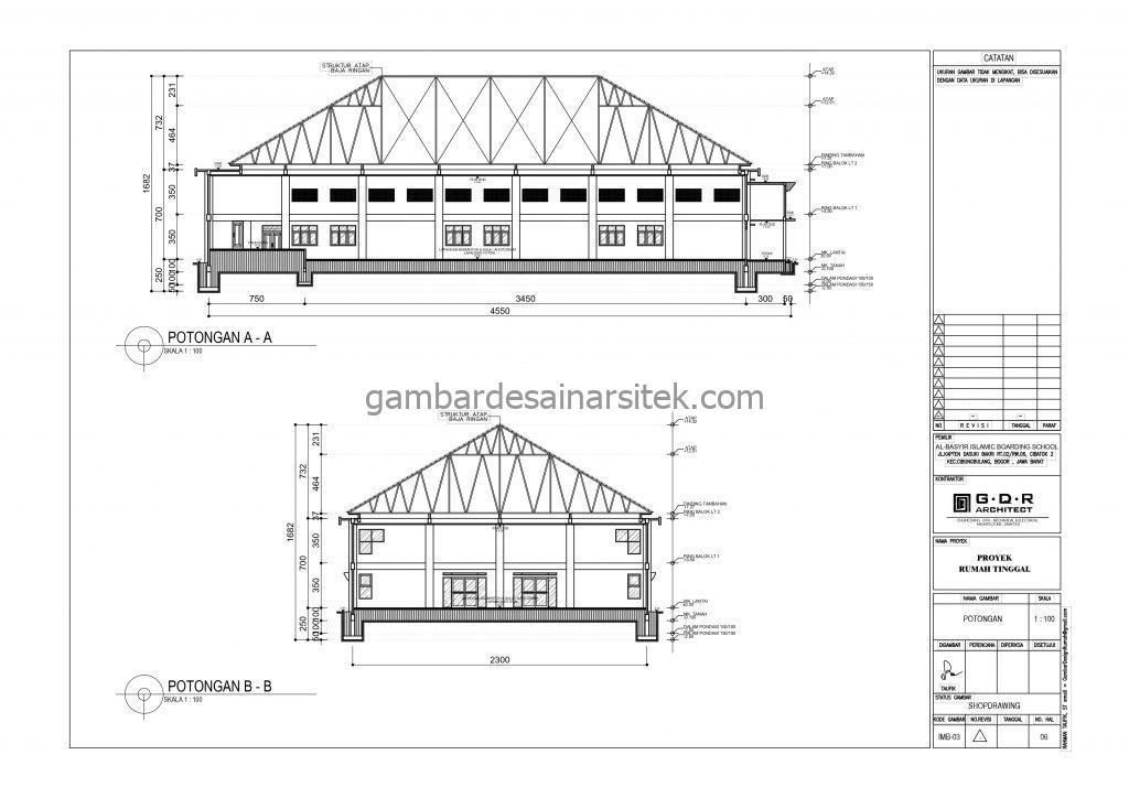 Potongan A A Potongan B B Gedung Serba Guna Gambar Desain Bangunan Sekolah Boarding School