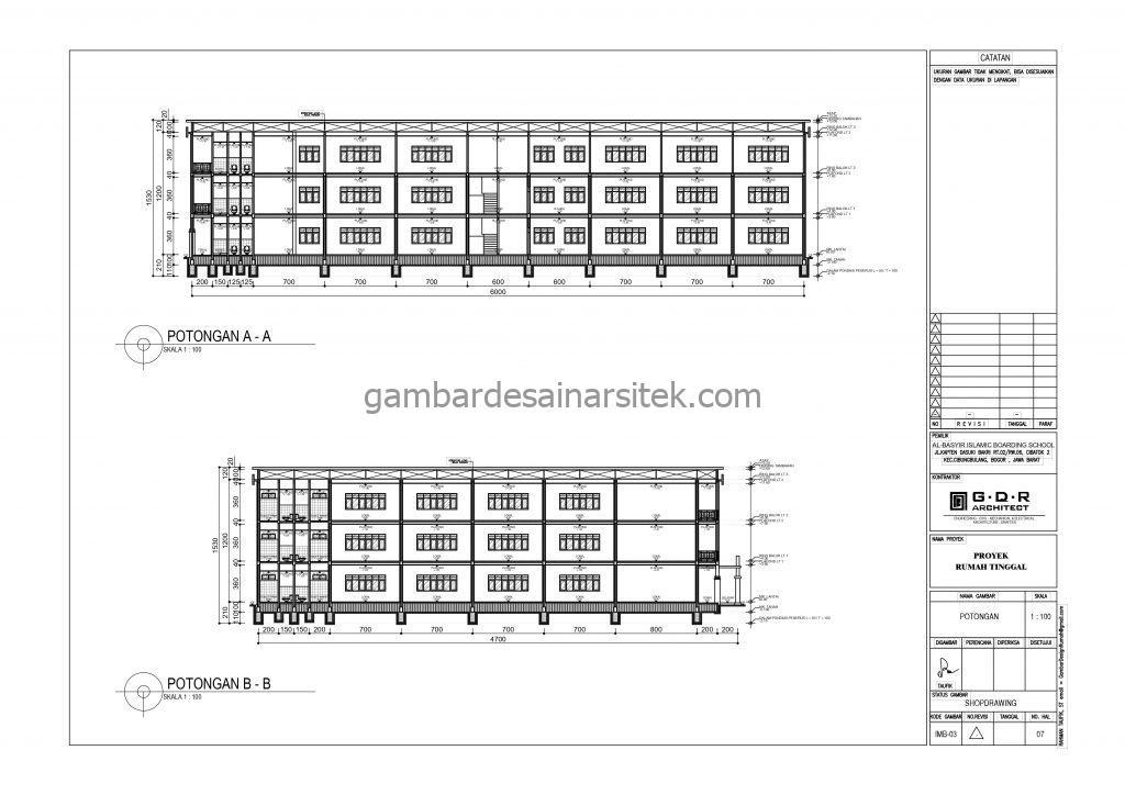 Potongan A A Potongan B B Kelas Gambar Desain Bangunan Sekolah Boarding School