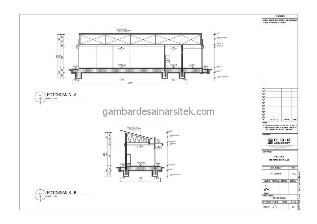 Potongan A A Potongan B B Koperasi Gambar Desain Bangunan Sekolah Boarding School
