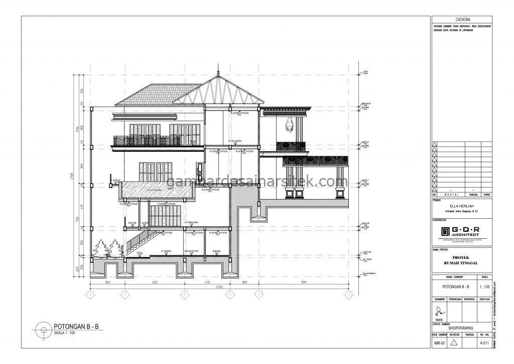 Potongan B B Gambar Desain Rumah 4 Lantai Mewah Mediterania