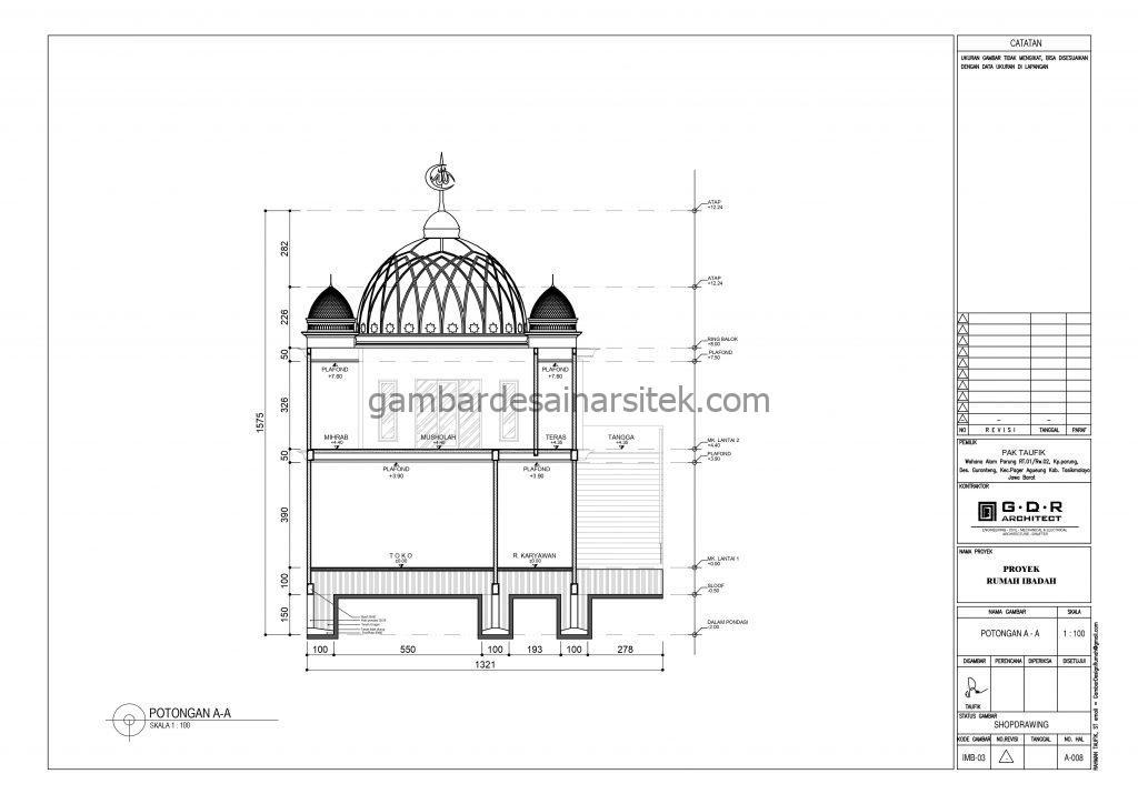 Potongan Gambar Desain Masjid 2 Lantai ada Minimarket 7