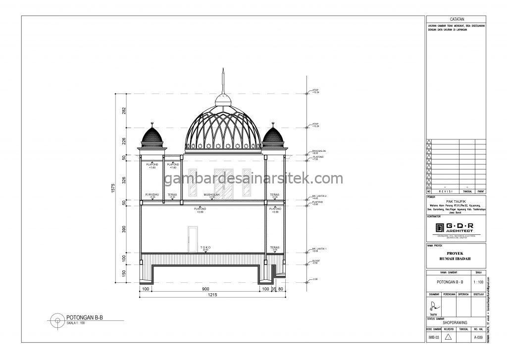 Potongan Gambar Desain Masjid 2 Lantai ada Minimarket 8