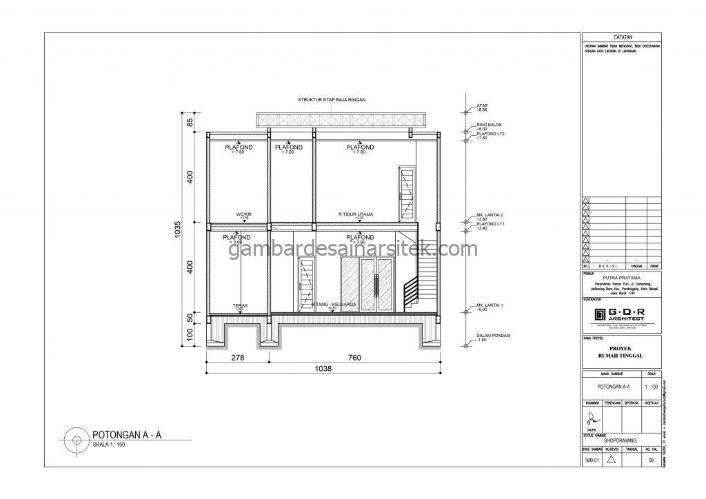 Potongan Gambar Desain Rumah 2 Lantai 11x16 7