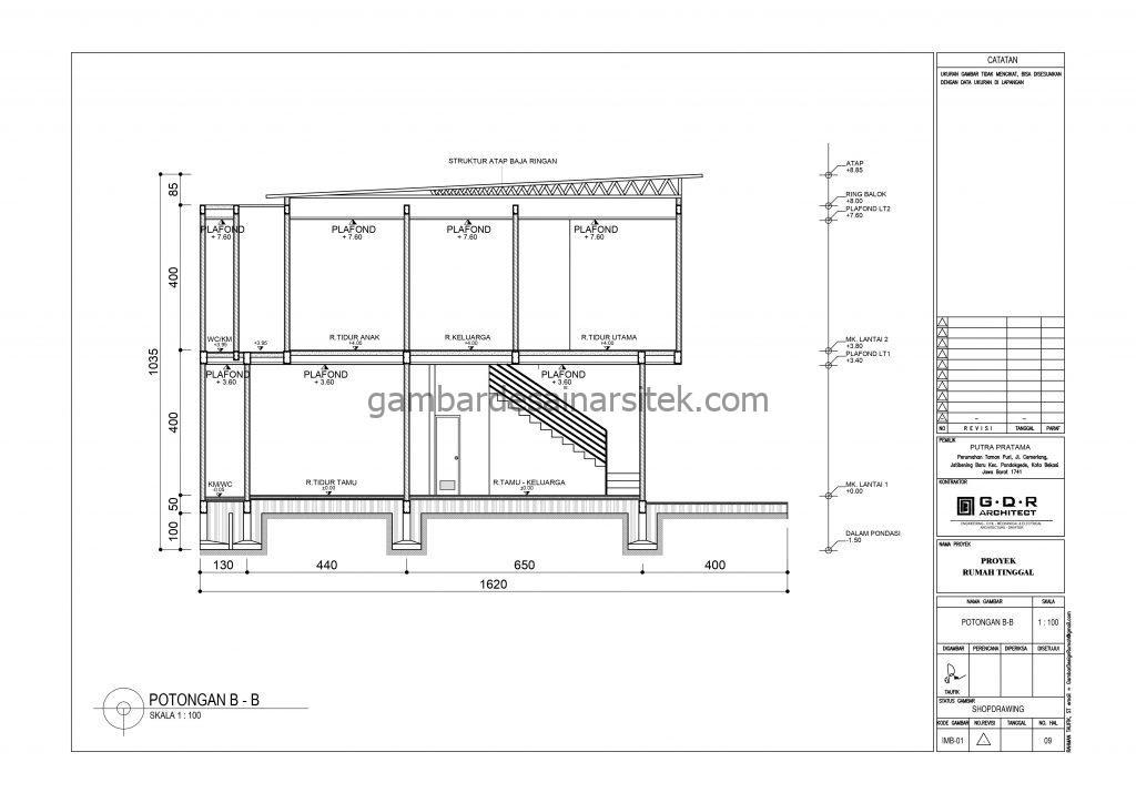 Potongan Gambar Desain Rumah 2 Lantai 11x16 8