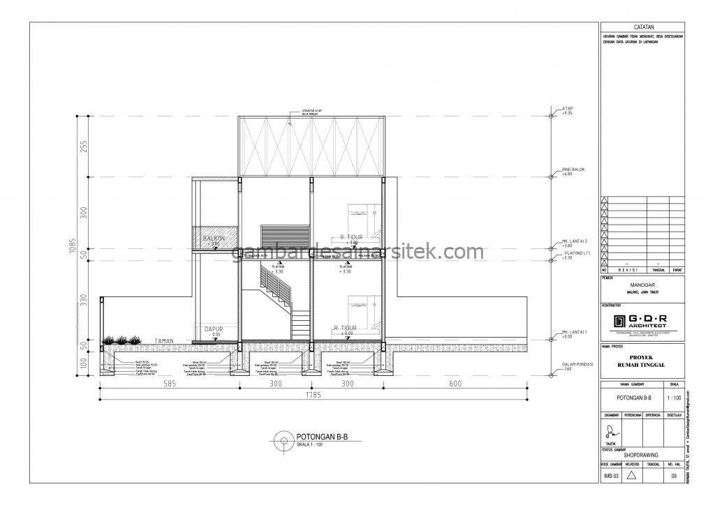 Potongan Gambar Desain Rumah 2 Lantai 7x18 2