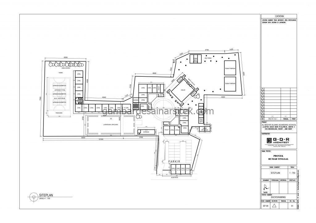 Siteplan Gambar Desain Bangunan Sekolah Boarding School