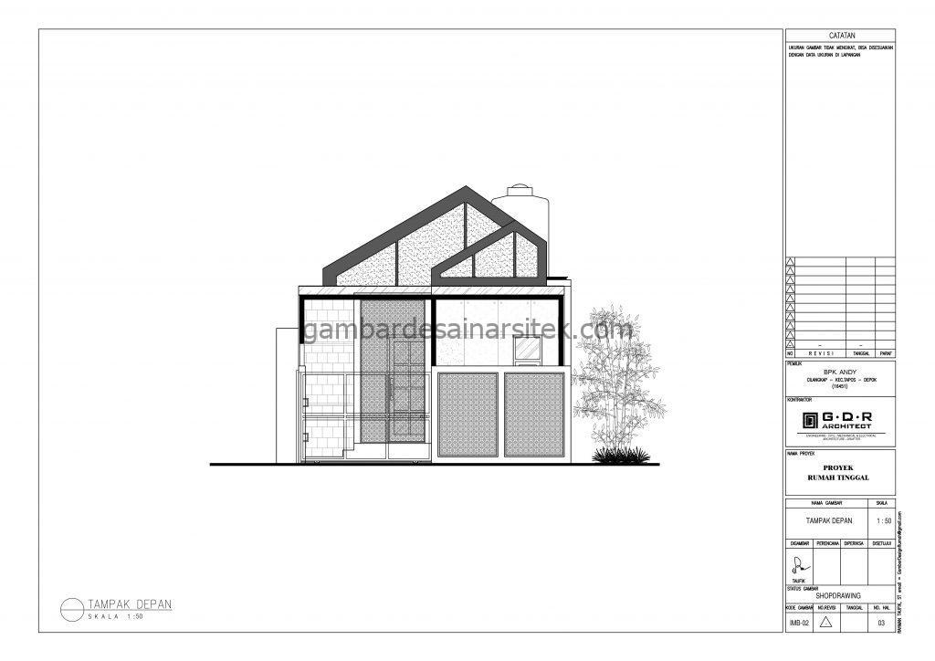 Tampak Depan Gambar Desain Rumah 1 Lantai Industrial Modern 3