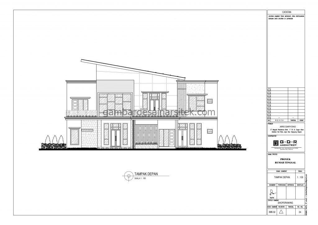 Tampak Depan Gambar Desain Rumah 2 Lantai Atap Panel Surya