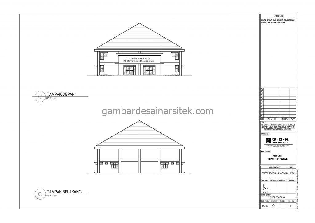 Tampak Depan Tampak Belakang Gedung Serba Guna Gambar Desain Bangunan Sekolah Boarding School