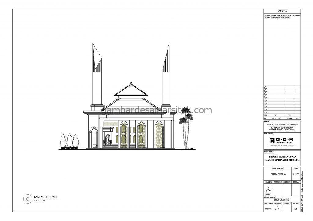 Tampak Gambar Desain Masjid 1 Lantai 21x21 5