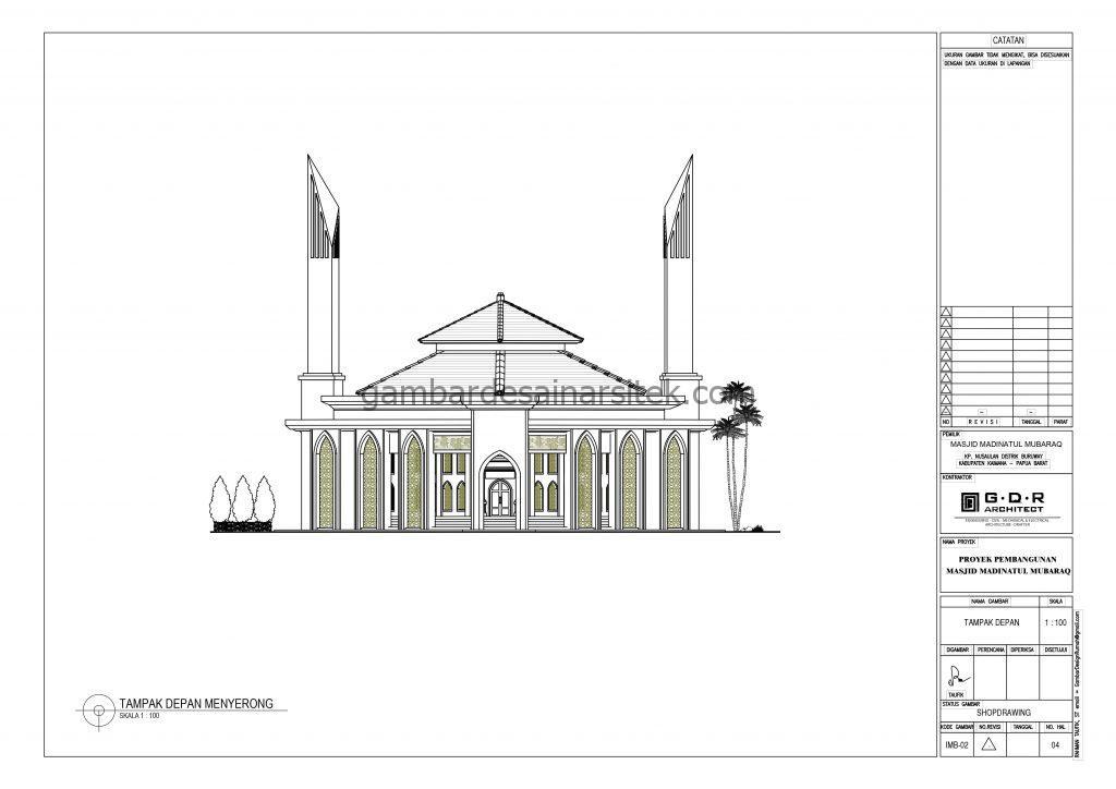 Tampak Gambar Desain Masjid 1 Lantai 21x21 6