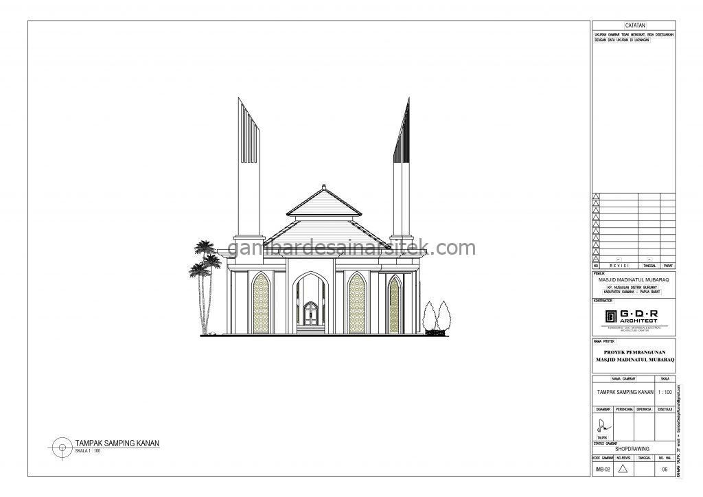 Tampak Gambar Desain Masjid 1 Lantai 21x21 8