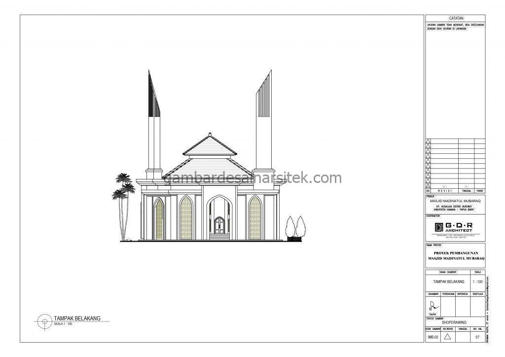 Tampak Gambar Desain Masjid 1 Lantai 21x21 9