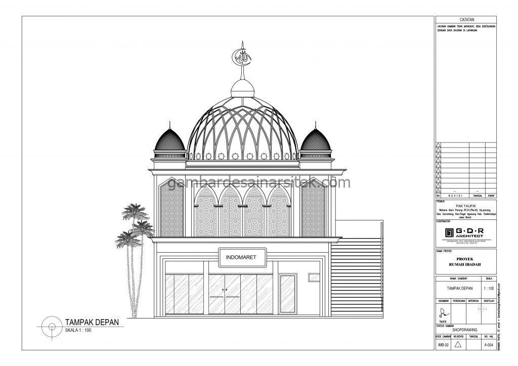 Tampak Gambar Desain Masjid 2 Lantai ada Minimarket 6