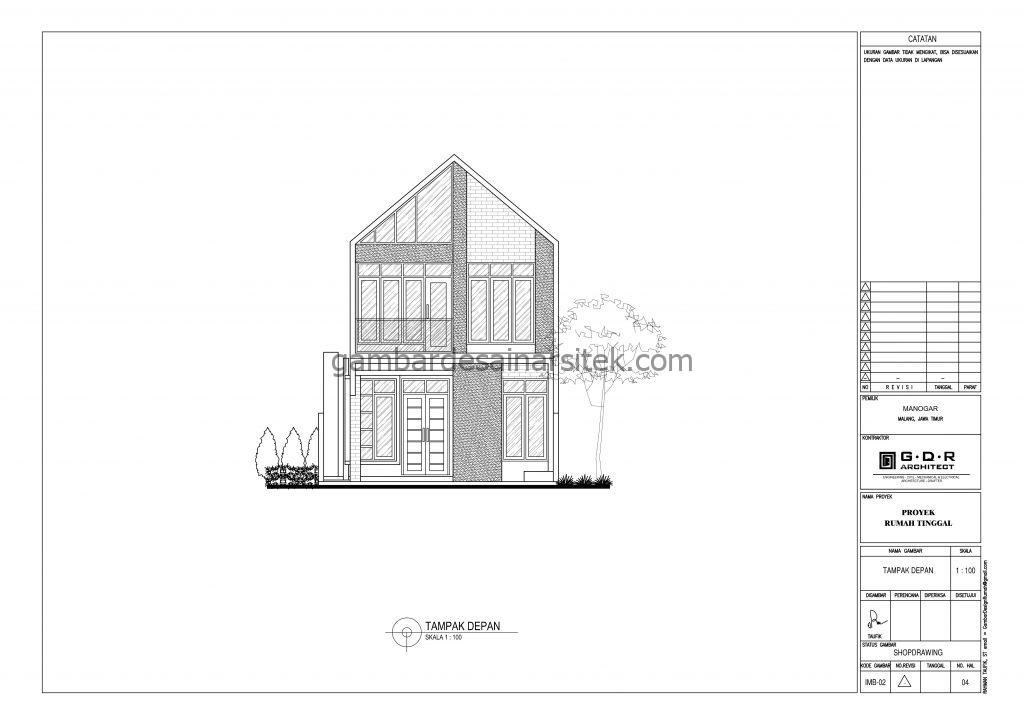 Tampak Gambar Desain Rumah 2 Lantai 7x18 5