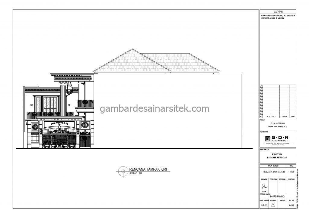 Tampak Kiri Gambar Desain Rumah 4 Lantai Mewah Mediterania