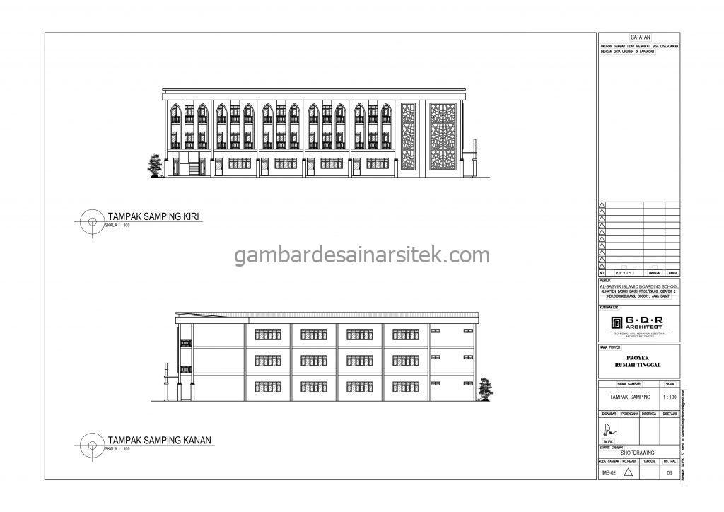 Tampak Samping Kiri Kanan Kelas Gambar Desain Bangunan Sekolah Boarding School
